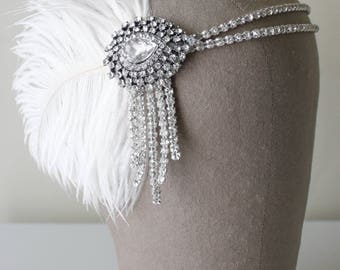 Flapper Headband, Bridal Hairpiece, The Great Gatsby Headpiece, Vintage Inspired, 1920s, 1930s, Party, Roaring 20s, Ivory, Blush Feather 102