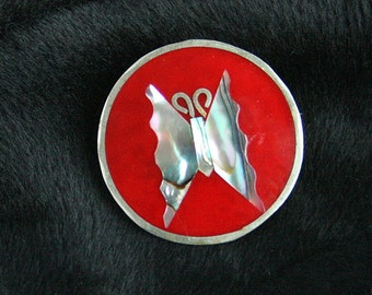 Vintage Red Butterfly Pendant Brooch Convertible 1960s Silver Enamel Mother of Pearl Abalone Pin