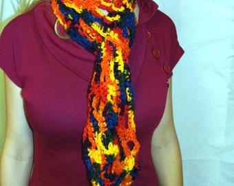 Easter Scarf Red Orange Crochet knit Colorful Handmade Unusal Gift Womans Mans Boho Fashion Multi Color Designer New Spring Multi Color