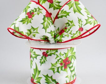 RIBBON 5 YARDS Holly Berry Ribbon, White, Red ,bows and ribbons, party, packaging, wrapping .  wired edge. 2.5 wide