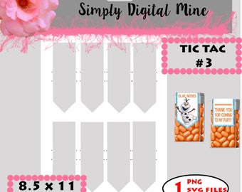 YOU Design!!! Tic tac label #3 Template !! Pointed Bottom..