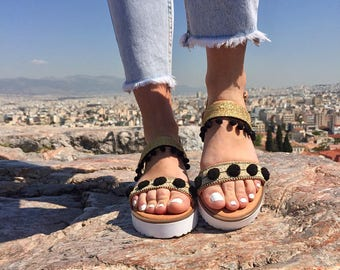 Gold Leather Sandals Women, Gladiator Sandals, Gold Sandals, Greek Sandals, Flat Sandals, Slingback Sandals, Made from 100% Genuine Leather.
