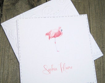 Pink Flamingo Personalized Enclosure Cards - Gift Card - Calling Cards - Set of 24 - Girl - Kids - Flat - One sided - Embossed edge