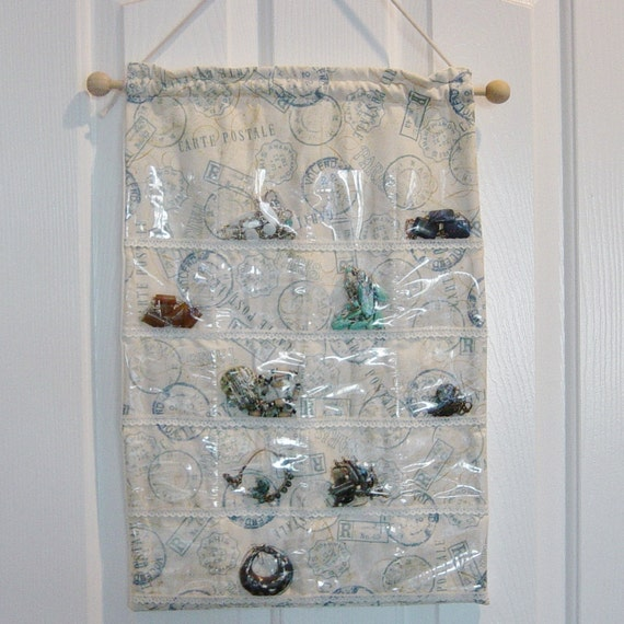 Jewelry Organizer In Closet or Wall Clear Vinyl Pocket