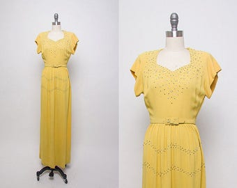 Vintage 1940's old hollywood dress in mustard yellow