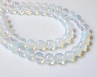 Opalite sea opal faux moonstone round glass beads 10mm full strand KPOM179