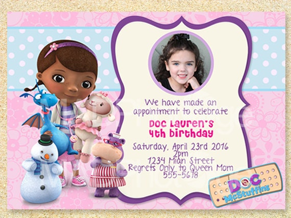 Doc McStuffins Birthday Invitation printable doc mcstuffins