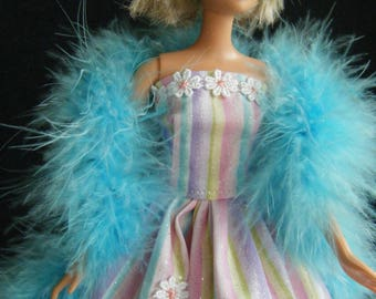 Barbie Ball Gown and Boa, barbie clothes, barbie doll clothes, barbie gown, barbie dress, fashion doll clothes, barbie dolls, barbie