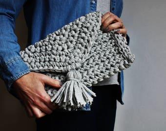 Crochet Bag, Mothers Day Gift, Knitted Bag, T Shirt Yarn Bag, Grey Clutch Bag, Evening Bag, Boho Handbag, Festival Bag, Handknit Clutch