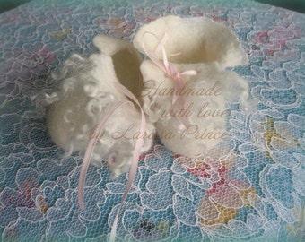 Newborn handfelted booties pure wool sheep nunofelt with cotton and Angora