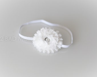 White Baby Headband, Baby Girl Headband, Newborn Headband, Baptism headband, Christening headband, newborn photo prop, Easter Baby Headband