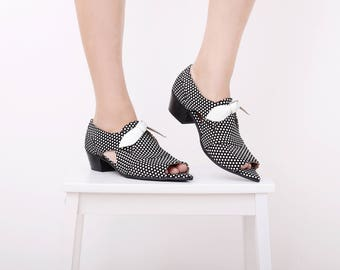 Bow sandals Womens Leather sandals , Open-toe pointy leather Shoes black and white polka dots handmade ADIKILAV New