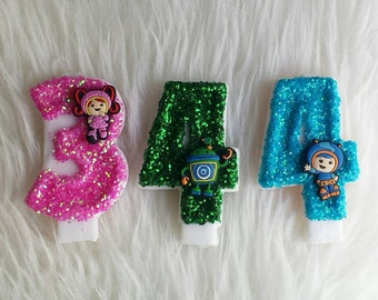 Team umizoomi glitter birthday number candle, come in any number you like and and character you like