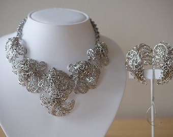 NAPIER Silvertone Necklace and Earrings Set 1950s