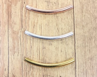 Bulk 50 NEW SIZE - Gold, Silver, Rose Gold Tube Beads, Curve Tube Bead, 3mm x 35mm, Noodle Bead, Heavy Wall  (ID: .3mm)