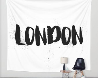 London Wall Tapestry, Wall Hanging, London Decor, Wall Tapestries, Dorm Decor, Black and White Wall Decor, Travel Gifts, Teen Room Decor