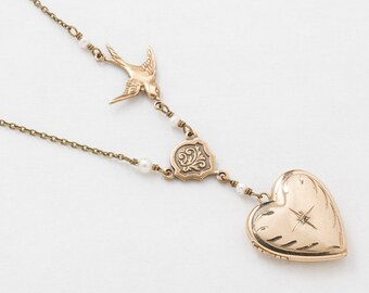 Locket Necklace, Heart Locket in Gold Filled with Genuine Diamond & Pearls, Bird Charm on Pendant Chain, Photo Locket, Jewelry Womens Gift