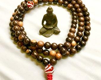 10 mm Tiger Ebonywood Mala, Large Wood Mala on Cord, Adjustable Knot Mala, Buddhist Mala Prayer Beads, 108 Mala Beads