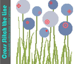 Contemporary floral cross stitch pattern in soft shades of blue. Retro design. Modern embroidery chart for instant download.