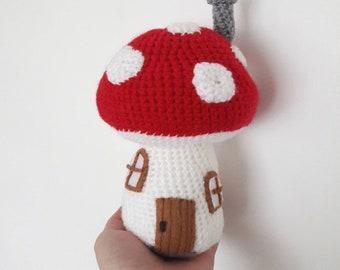 Crochet Amigurumi Toadstool Fairy house - decorative gnome home - home decor - enid blyton fairytale house - pixie decor - nursery decor