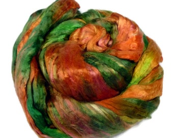 Mulberry Silk roving, hand dyed CITRUS