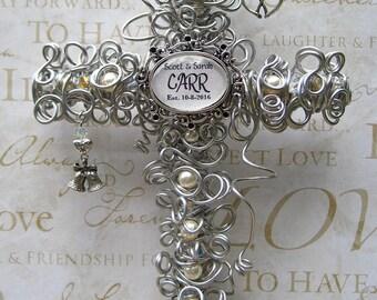 Personalized Wedding Cross - Personalized Wedding Gift Keepsake - Couple Wedding Gift - Pearl Cross - 10 Inch