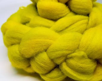 Hand dyed polwarth roving in chartreuse