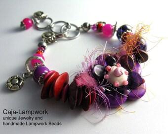 Flower Bracelet, Lampwork Flower, Pink, Purple, Adjustable Size, Ceramic, Silk