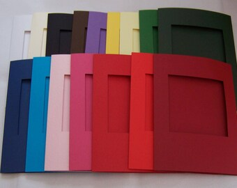 """Card Blanks, 5 Square aperture cards, greeting cards blanks with 5 white envelopes, Aperture cards, 8 x 6 """", assorted colors"""