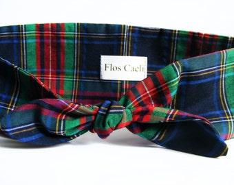 Blue Green Plaid Headband - Women Bow Headband - Non Stretchy Tie Up Turban - Scotland Plaid - Tartan Headband