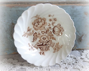 antique transferware bowl small brown bowl dish royal staffordshire english china dinnerware charlotte pattern berry bowl dessert dish