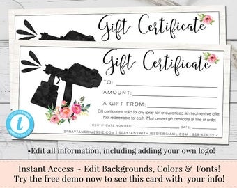Gift certificate voucher printable gift cert editable gift spray tan gift certificate editable gift certificate voucher printable gift cert diy yadclub Image collections