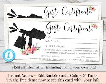 Gift certificate voucher printable gift cert editable gift spray tan gift certificate editable gift certificate voucher printable gift cert diy yadclub Gallery