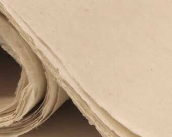 Handmade Lokta Paper Light Natural Colours - eco-friendly, handmade, tree free, acid free.