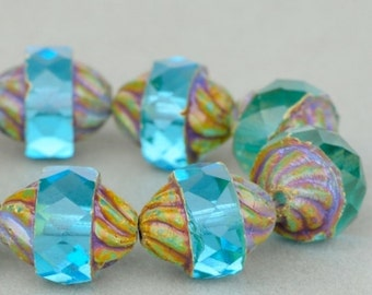 Czech Glass Beads, Spiral Central Cut, Aqua Transparent with Picasso, 12x10mm, 10 beads