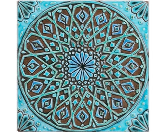 Moroccan wall art made from ceramic, Outdoor wall art, Moroccan decor, moroccan wall hanging, ceramic tile, Moroccan tile #4, turquoise 30cm