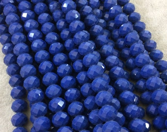 """8mm x 10mm Glossy Finish Faceted Opaque Dark Denim Blue Chinese Crystal Rondelle Beads - Sold by 17"""" Strands (Approx. 57 Beads) - (CC810-64)"""