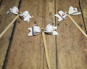 Christmas cupcake topper/ red reindeer cupcake bow toppers /food picks/ set of 6