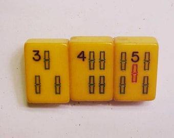 Bakelite Mah Jong Tile Lucky 345 Pin by Jan Carlin BAM