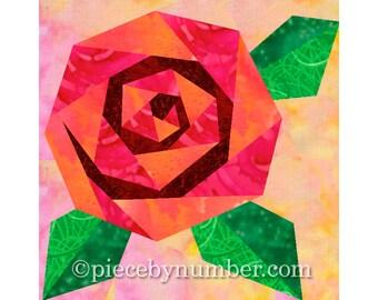 Rosie's Rose quilt block, rose quilt patterns, paper piecing quilt patterns, flower quilt patterns, rose patterns, PDF pattern, blossom