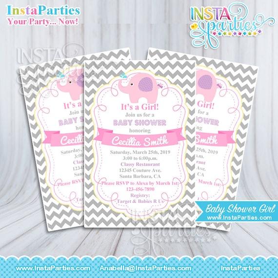 Captivating Invitaciones Baby Shower Elefante Elefantes Nina Rosa