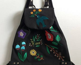Bluebird In The Backyard Embroidered Canvas Backpack