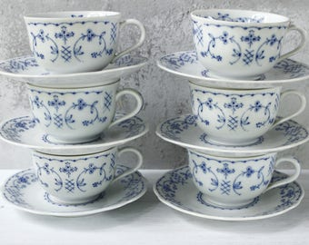 Vintage Cup and Saucer Set...Blue and White Pattern...Delightful.