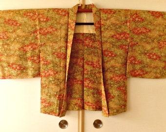 Haori jacket women silk kimono jacket Asian jacket kimono cardigan Japanese orange green floral kimono jacket - JA0092VH