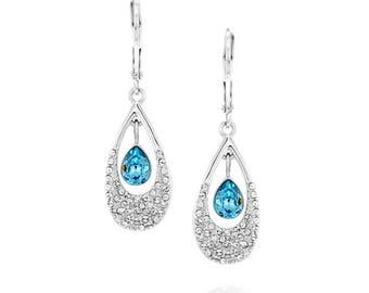 Pomegranate Earrings - Swarovski Aquamarine