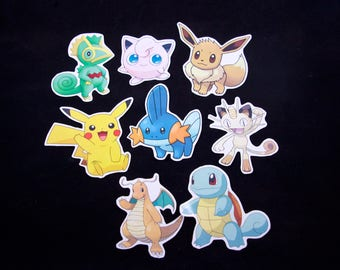 Pokemon Sticker Pack - Eevee, Pikachu, Squirtle, Jigglypuff And More