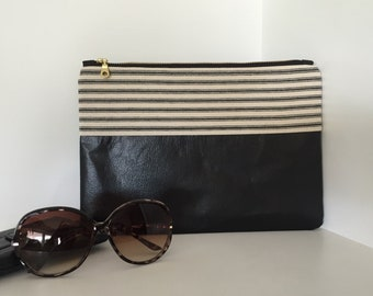 Zippered Clutch, Fabric and Faux Leather