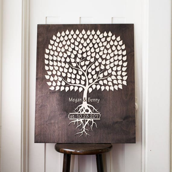Wedding Guest Signing Tree: Guest Book Wedding Guestbook 3d Tree Signing Guestbook