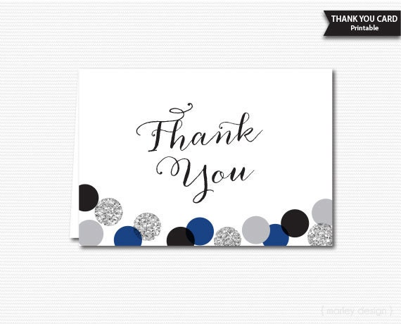Silver Glitter Polka Dots Thank You Card Printable Note Cards