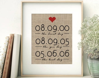 The First Day - The Yes Day - The Best Day | Personalized Burlap Print | First Date - Engagement - Wedding Date | Bridal Shower Gift